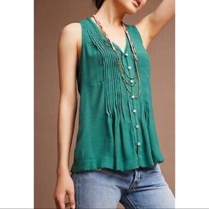 MAEVE Pintucked Sleeveless Button Down Blouse NWT
